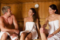 Three people in sauna Stock Photography
