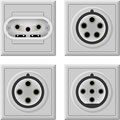 Three phase socket various types of sockets that are used in the world Royalty Free Stock Photo