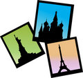 Three pictures of Moscow, Paris and NY icons Stock Photos