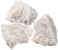 Three pieces of conglomerate mineral stone macro shooting specimen natural rock isolated on white background Royalty Free Stock Photography