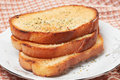 Three pieces of toasted bread Stock Photo
