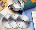 Three pieces various diamond a disk for are sharp construction materials the cutting machine and detachable disks Royalty Free Stock Photos