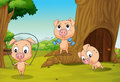 Three pigs at the forest illustration of Royalty Free Stock Photo
