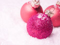 Three Pink Christmas Baubles I...