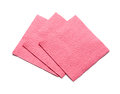 Three pink napkins for cleaning on a white background Royalty Free Stock Photos