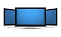 stock image of  Three plasma LCD TV