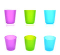 Three plastic cups two views of each of colored Stock Photos