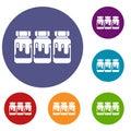 Three plastic jars with gouache icons set
