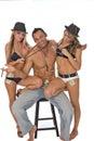 Three playful fashion models Royalty Free Stock Photo