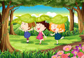 Three playful kids at the forest illustration of Royalty Free Stock Image