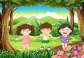 Three playful kids at the jungle illustration of Stock Photography