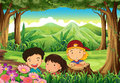 Three playful kids at the woods illustration of Stock Image