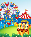 Three playful monster at the hilltop with a carnival illustration of Stock Photography