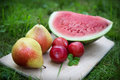 Three plums with pears and watermelon slice Royalty Free Stock Photo