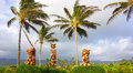 Three Polynesian Tiki Gods Royalty Free Stock Photo