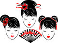 Three portraits asian girls different types hairstyles bicolor stencil Stock Photos