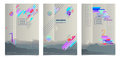 Three posters format A4, for registration. Modern colors, gradients
