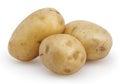 Three potatoes isolated on white Royalty Free Stock Photo