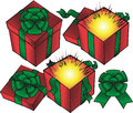 Three presents red with green bows and ribbon Royalty Free Stock Images
