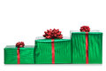 Three presents in a row  Stock Images