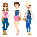 Three pretty girls spring summer fashionable clothing brown hand bags Stock Photo