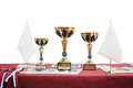Three prize cups on a table Royalty Free Stock Photos