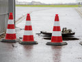 Three pylons on the shaft berlin germany march as protection against water meter western approach to airfield tempelhof Royalty Free Stock Image