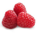 Three raspberries in a group against white background square Stock Image