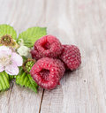 Three Raspberries with leaves Stock Photography