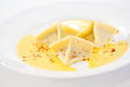 Three ravioli served white plate Royalty Free Stock Photo