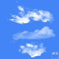 Three realistic clouds on a sky-blue background. Vector illustra