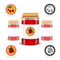 Three realistic mock up glass jar with jam home preservation and fruit labels on white background