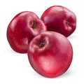 Three red apple Isolated on white. With clipping path Royalty Free Stock Photo