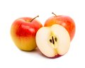 Three red apples on white background Royalty Free Stock Images