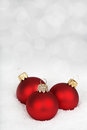 Three Red Baubles On The Snow