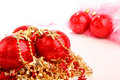 Three red christmas balls on stars isolated Royalty Free Stock Photography