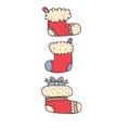 Three red Christmas sock