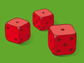 Three red dice on green Royalty Free Stock Image