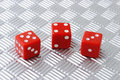Three red dices Royalty Free Stock Image