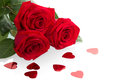 Three red roses beautiful isolated on white background Royalty Free Stock Photography