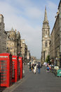 Three red telephone boxes Royal Mile, Edinburgh Royalty Free Stock Photo