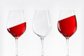 Three red white wine glasses Royalty Free Stock Photo