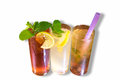 Three refreshing ice beverages top view iced tea lemonade and tapioca with gelatin drinks Stock Image