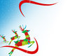 Three reindeer left buttom side abstrack background on white Royalty Free Stock Photography