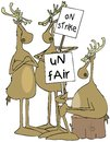 Three reindeer with picket signs Royalty Free Stock Photo