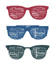Three retro sunglasses with typography in it. Royalty Free Stock Images