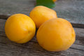 Three ripe apricots on the grey wooden background Royalty Free Stock Photo