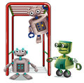 Three robots playing illustration of the on a white background Royalty Free Stock Image