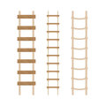 Three rope ladders on a white background. Royalty Free Stock Photo
