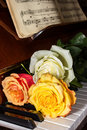 Three roses on a piano Royalty Free Stock Photography